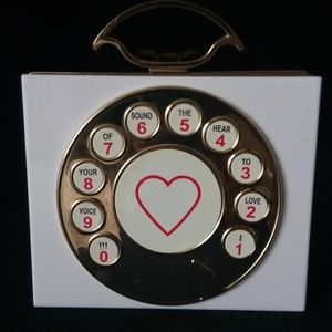 INC White Gold Rotary Phone Purse Telephone Clutch